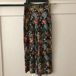 Zara floral wide leg midi pants